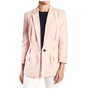 Joie Lian Cotton-Linen Blazer in Washed Rose